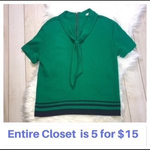 Vintage Green & Blue Sailor Style Nautical Top